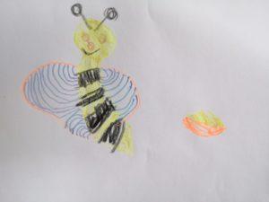 Liesel mit Blütenstaub – gemalt von Tamara (5 Jahre)